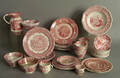 Group of red Staffordshire tableware
