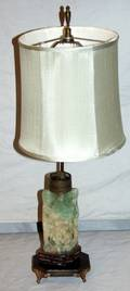 051589 CHINESE CARVED GREEN QUARTZ TABLE LAMP C 1900