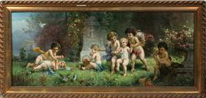 042526 ANTIQUE CHROMOLITHO OF CHILDREN IN A GARDEN
