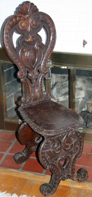 040502 ITALIAN BAROQUE CARVED WALNUT SIDE CHAIR C1880