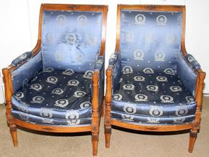 082054 FRENCH EMPIRE WALNUT  UPHOLSTERED ARM CHAIRS