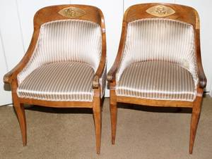 082053 FRENCH EMPIRE WALNUT  UPHOLSTERED ARM CHAIRS