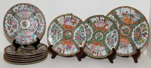 081058 CHINESE ROSE MEDALLION PORCELAIN PLATES