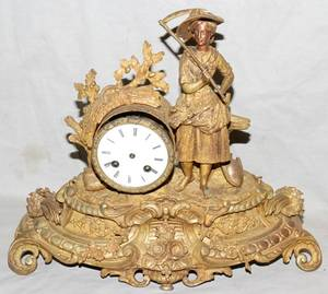 080021 L MARTI ET CIE BRONZE MANTLE CLOCK 19TH C