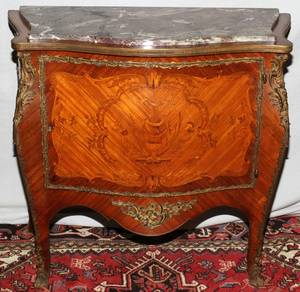 072029 FRUITWOOD MARQUETRY MARBLE TOP COMMODE 19TH C