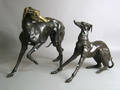 Two bronze whippet figures