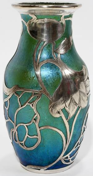 071002 ART NOUVEAU SILVER OVERLAY GLASS VASE H 5 34