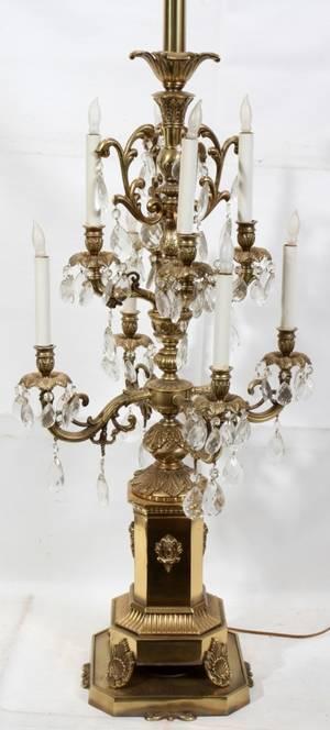 070029 BRONZE  CRYSTAL EIGHT LIGHT LAMP H 69