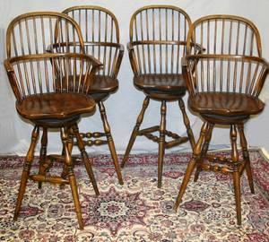 061037 ENGLISH YEW WOOD BAR STOOLS SET OF FOUR