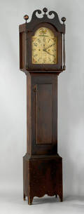Canadian painted pine tall case clock early 19th c