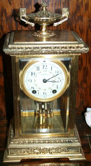 040007 SETH THOMAS GILT METAL MANTLE CLOCK C1900