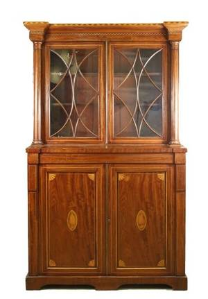 19th Century English Inlaid Bookcase Breakfront