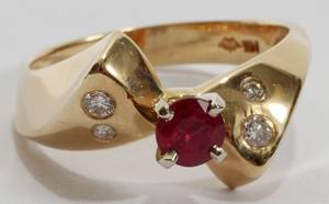 101077 14KT YELLOW GOLD 50CT RUBY  DIAMOND RING