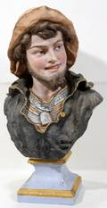 101099 CONTINENTAL BISQUE BUST LATE 19TH C H 21