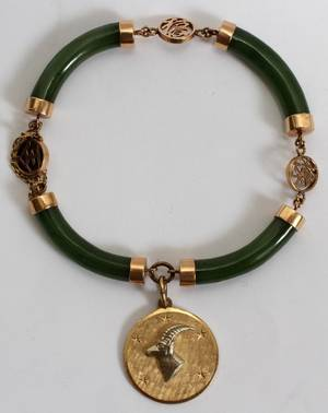 121098 14KT YELLOW GOLD  JADE BRACELET WITH CHARM