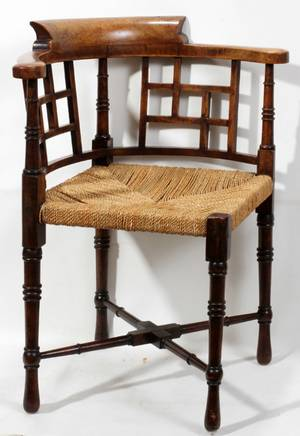 011116 ENGLISH 19TH C WALNUT CORNER CHAIR