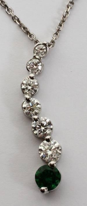 121116 14KT WGOLD DIAMOND  TSAVORITE PENDANT