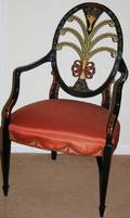 121110 KARGES FURNITURE CO LACQUERED WOOD ARMCHAIR