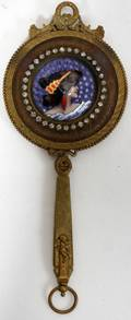 111110 GILT BRONZE HAND MIRROR WINSET ENAMEL PLAQUE