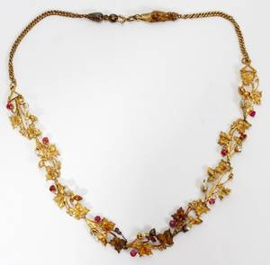 101165 ANTIQUE 14KT GOLD SEED PEARL  STONE NECKLACE