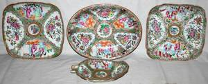 011143 CHINESE ROSE MEDALLION PORCELAIN DISHES FOUR