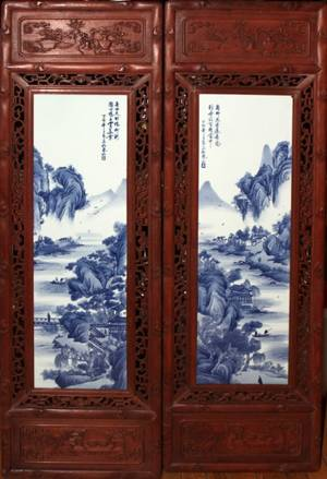 010075 MODERN CHINESE BLUE WHITE PORCELAIN PLAQUE
