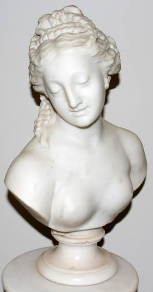 112117 CARRARA MARBLE BUST OF YOUNG WOMAN