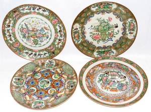 091159 CHINESE ROSE MEDALLION PORCELAIN PLATES 19TH C