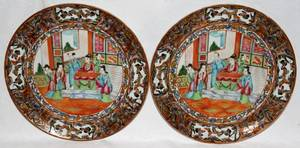 091153 CHINESE ROSE MEDALLION PORCELAIN PLATES 19TH C