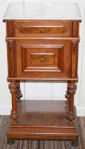 121156 VIENNESE WALNUT CABINET WITH MARBLE TOP 19TH C