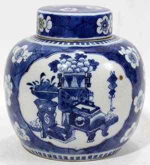 110107 CHINESE BLUE  WHITE PORCELAIN GINGER JAR H 7