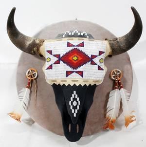 101227 AMERICAN INDIAN BEADWORKMOUNTED STEER SKULL