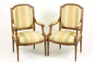 Pair of 19th C French Louis XVI Style Fauteuils