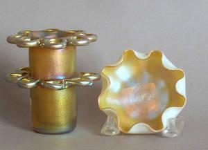 Tiffany favrille glass salt