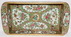 091169 CHINESE ROSE MEDALLION PORCELAIN RECTANGULAR DI