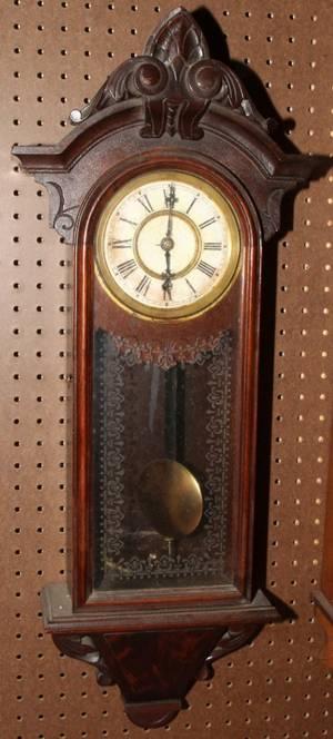 020150 VICTORIAN MAHOGANY WALL CLOCK C 1860 H 31