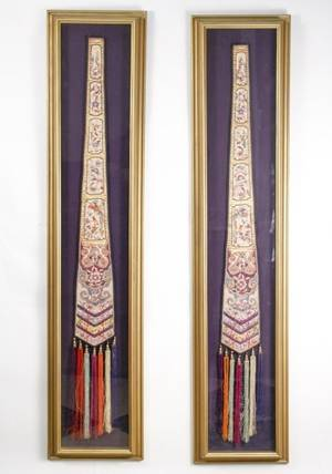Pair of Chinese Silk Wedding Ceremonial Hangings