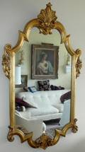 122168 CARVED WOOD FRAME MIRROR CIRCA 1940