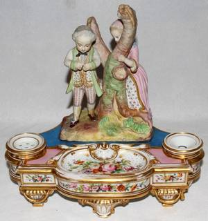 121225 FRENCH PORCELAIN  BISQUE FIGURAL INK STAND