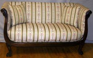 110136 EMPIRE STYLE MAHOGANY  UPHOLSTERED SETTEE
