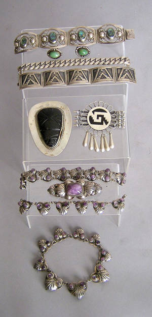 Mexican sterling silver jewelry Provenance Shoemaker Estate