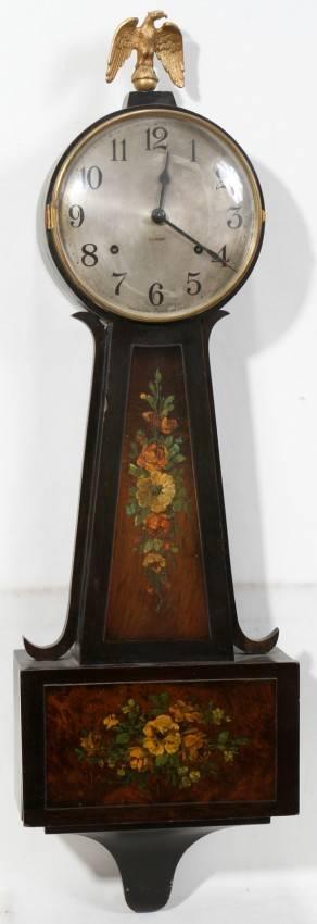 110122 GILBERT FEDERAL STYLE BURL WOOD BANJO CLOCK