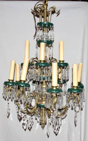 102166 ITALIAN CRYSTAL AND BRASS 12 LIGHT CHANDELIER