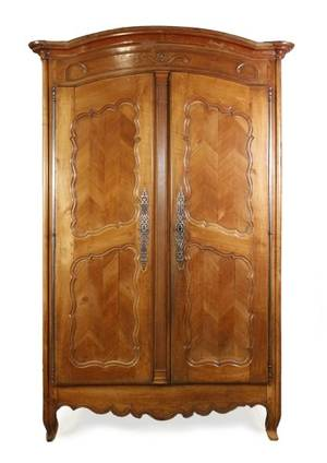 French Provincial Walnut Two Door Armoire