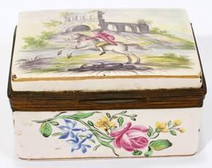 091213 FRENCH ENAMEL PATCH BOX 18TH C L 3 12