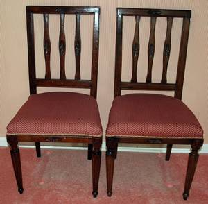 120136 LOUIS XVI STYLE WALNUT OCCASIONAL CHAIRS PAIR