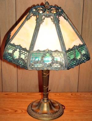 020188 BENT GLASS AND GILT METAL TABLE LAMP C 1930