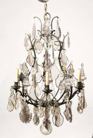 Napoleon III Style Sun Purpled 6 Light Chandelier