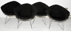 012201 BERTOIA FOR KNOLL DIAMOND LOUNGE CHAIRS FOUR