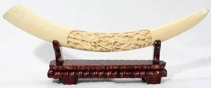 011264 CHINESE CARVED IVORY TUSK L 21
